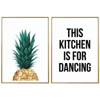 家居生活用品创意北欧风格餐厅装饰画菠萝背景墙面字母简约北欧风个性ins墙画 B两幅价