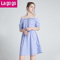 【5折价149.5】Lagogo/拉谷谷2018年夏新款小清新刺绣女一字领连衣裙HALL305A31