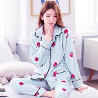 韩版珊瑚绒睡衣女士长袖甜美休闲家居服套装加厚法兰绒冬季保暖