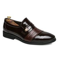 青年皮鞋英伦商务正装皮鞋男士尖头套脚一脚蹬透气秋秋韩版男鞋子