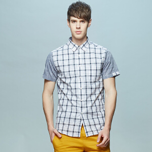 男式亚麻拼接款男式短袖衬衫 清爽蓝灰白格纹