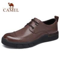 camel骆驼男鞋 秋季新品男士休闲系带皮鞋中青年英伦绅士皮鞋
