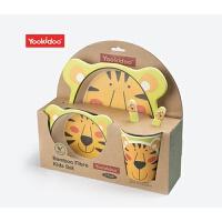 儿童餐具 环保竹纤维盘叉勺杯碗套装 卡通图案喂养餐具 绿老虎五件套