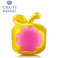 CNUTI粤通国际珠宝 黄金转运珠 3D硬金足金手链串珠转运珠 黄金小苹果 平平安安 约1.1g