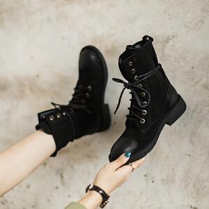 玛菲玛图欧洲站女靴春 单靴子2018新款中筒靴女真皮系带机车鞋复古马丁靴5751-21