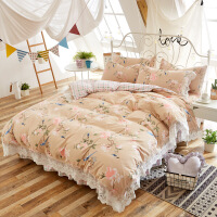 韩式柔肤棉蕾丝床裙四件套公主碎花全棉磨毛床上用品单双人床罩被套