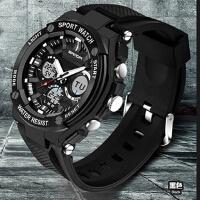 三达正品品牌双机芯双显户外多功能电子手表男士表韩版防水表