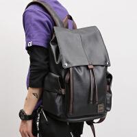 真皮质青年男士双肩背包韩版时尚潮流大容量15.6寸电脑包书包商务