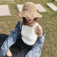 新款Chic复古挂脖性感针织短款外穿韩版白色吊带背心女内搭打底衫