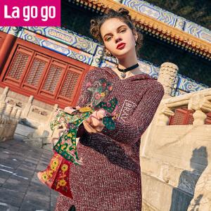 【清仓3折价99.9】Lagogo/拉谷谷2019冬季新款连帽开叉长袖中长款针织衫女潮上衣