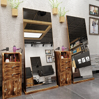 网红理发店镜子美发镜台柜子单面镜框复古化妆镜创意发廊镜落地镜