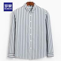 【品牌日�缓蠹郏�63】罗蒙(ROMON)男士长袖衬衫2020秋季新款青年时尚休闲条纹衬衫潮流百搭衬衣