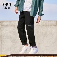 森马休闲裤男2020冬季新款潮流直筒裤宽松潮流个性慢跑运动裤子