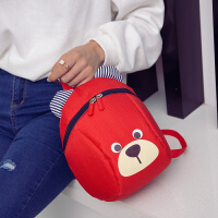 幼儿宝宝双肩小书包3岁儿童男女小孩防走失丢失可爱卡通背包潮 防走失小熊 红色