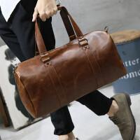 男士旅行包手提斜挎包旅游休闲男包韩版出差单肩包行李包疯马皮潮 咖啡色