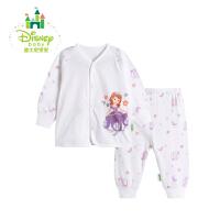 迪士尼Disney女童套装春秋季新品宝宝纯棉前开扣衣服可开裆家居服171T686