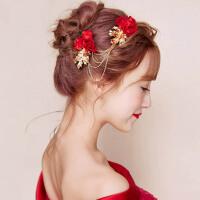 新娘头饰红色花朵盘发头花发夹婚纱礼服配饰结婚发饰首饰品