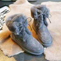 №【2019新款】冬天穿的羊皮毛一体雪地靴女士显瘦中筒棉靴子