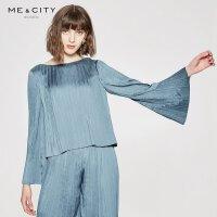 【5.16-5.17日抢购价:49.9】MECITY女装圆领套头很仙的洋气喇叭袖长袖衬衫