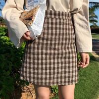 2018春装chic韩版半身裙女显瘦格子呢短裙高腰直筒裙一步裙包臀裙