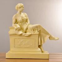 ��意抽象�渲�人物雕塑�k公室桌面�[件美式人物�^像��g工�品�b�