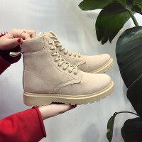 冬季新款短筒雪地短靴韩版马丁靴女鞋加绒保暖百搭学生棉鞋潮