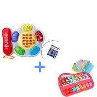 儿童多功能玩具电话机婴幼儿手机0-1-3岁宝宝多功能早教玩具 花朵电话+红色宝丽敲琴 送电池