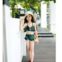 儿童游泳衣少女孩子中大童韩版学生分体裙式平角裤6-12岁女童泳装 乳白色 S 码30-40斤