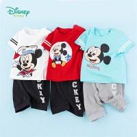 【3件3折到手价:64.5】迪士尼Disney童装 男童套装米奇圆领肩开短袖T恤纯棉七分裤两件套2020年夏季新品儿童