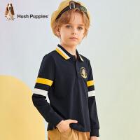 【预估券后价:94元】Hush Puppies暇步士童装男童时尚撞色翻领T恤2021秋季新款男大童长袖Polo衫