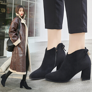 ZHR2018秋冬季新款韩版粗跟短靴马丁靴高跟单靴尖头切尔西靴女靴