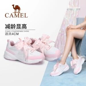 【返场限时抢】Camel/骆驼女鞋 2018夏季新品 简约休闲透气时尚轻运动系带运动鞋