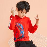 【1件4折到手价:95.6】moomoo童装男童卫衣新款春秋装漫威洋气休闲中大儿童针织套头衫