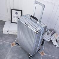 PC镜面拉杆箱男万向轮旅行箱女密码24寸26寸28寸托运密码箱行李箱 镜面银 20寸