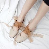 芭蕾舞鞋平底鞋小仙女夏蝴蝶结绑带鞋懒人鞋韩版复古方头奶奶鞋潮