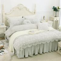 韩式珊瑚绒天鹅绒四件套保暖加厚法莱绒公主蕾丝床裙婚庆床上用品
