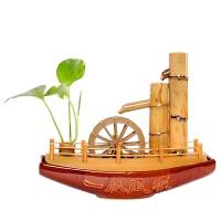 流水摆件竹子风水轮水车一帆风顺办公室加湿器创意礼品