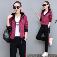 韩版开衫卫衣三件套时尚彩棉修身显瘦休闲运动套装女