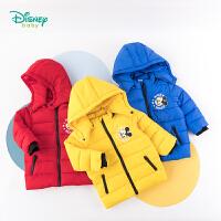 【2件3折到手价:99.6】迪士尼Disney童装 男童夹棉保暖外套冬季新品儿童可拆卸连帽棉服米奇卡通印花上衣194S