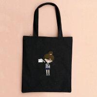 韩国帆布包单肩包手提包环保袋购物袋简约猫咪女学生书包拉链 小希女拉链-黑包