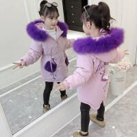 女童棉衣2018新款冬装小女孩中长款休闲宝宝加厚儿童棉袄外套