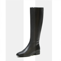 长筒靴女2018新款长靴冬季靴子加绒高筒靴方头马靴皮靴中筒骑士靴SN8718