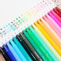 慕娜美24色水彩笔纤维笔水性笔36色填色手绘彩色勾线笔手账中性笔