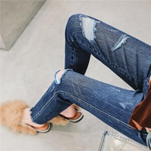 七格格破洞牛仔裤女春秋2018新款韩版显瘦高腰直筒薄款夏季小脚裤子女潮