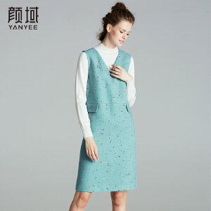 颜域品牌女装2017冬装新款欧美优雅V领显瘦无袖背心裙毛呢连衣裙