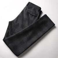 格子休闲裤男秋冬新款男士修身弹力小脚长裤时尚青年灰色磨毛男裤 深灰色