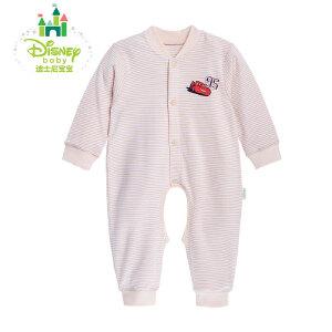 【卷后139元3件】迪士尼Disney 婴儿内衣纯棉条纹连体衣宝宝开裆爬服153L665