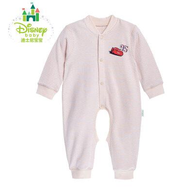 【99元3件】迪士尼Disney 婴儿内衣纯棉条纹连体衣宝宝开裆爬服153L665 舒适纯棉,柔软亲肤