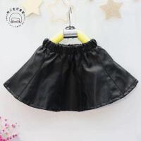 韩版女童冬季新款百搭加绒短裙半身裙皮裙宝宝PU加绒裙子A9-S24