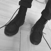 马丁靴男英伦平底头层皮工装靴黑色磨砂8孔短靴单靴冬季女靴军靴 黑色磨砂头层牛皮 男单鞋 标准皮鞋码